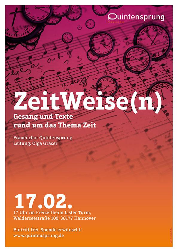 Plakat Konzert Quintensprung - ZeitWeise(n) am 17.02.2019 im Listerturm